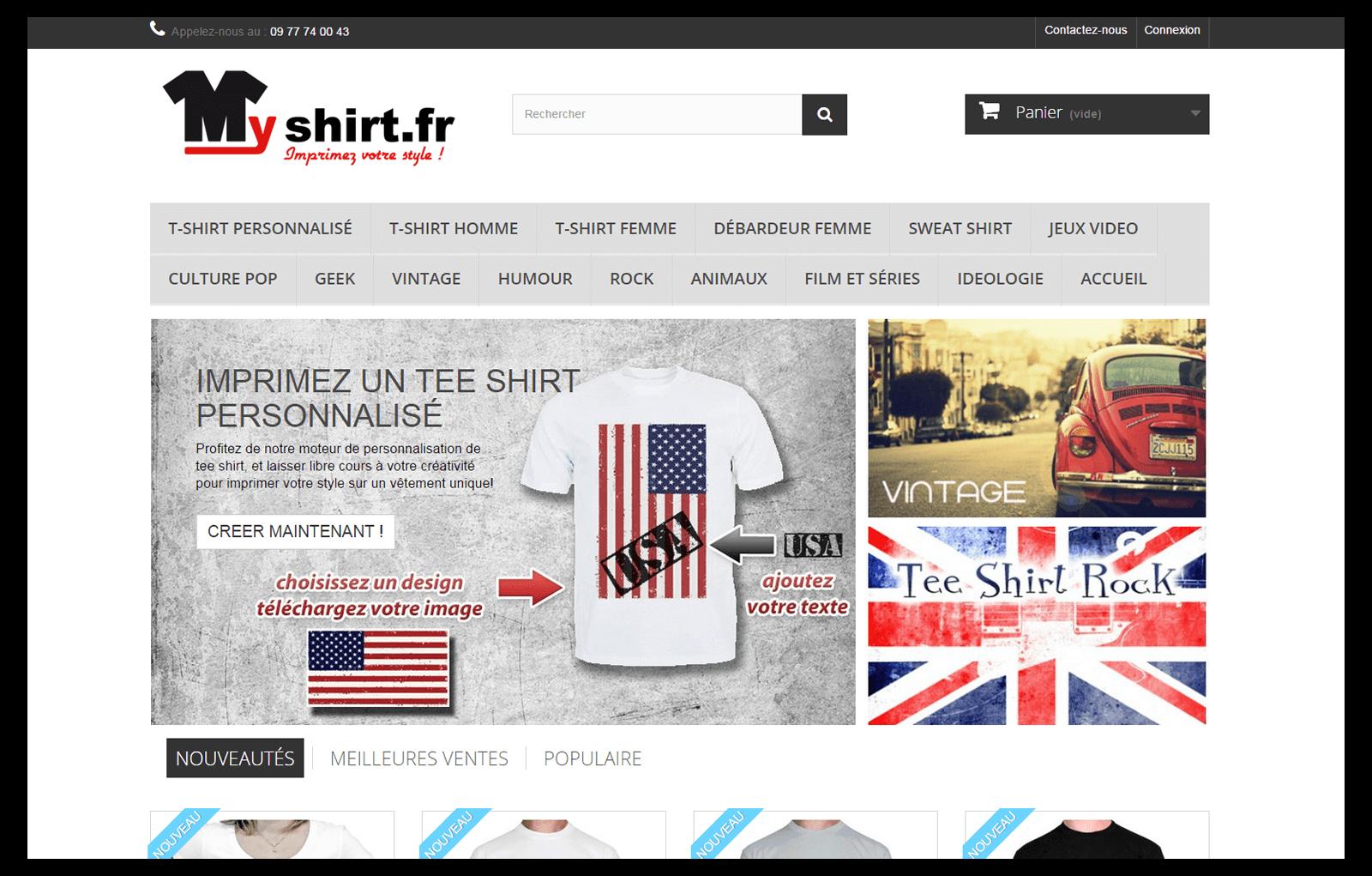 Personnalisation de t-shirt avec myshirt.fr