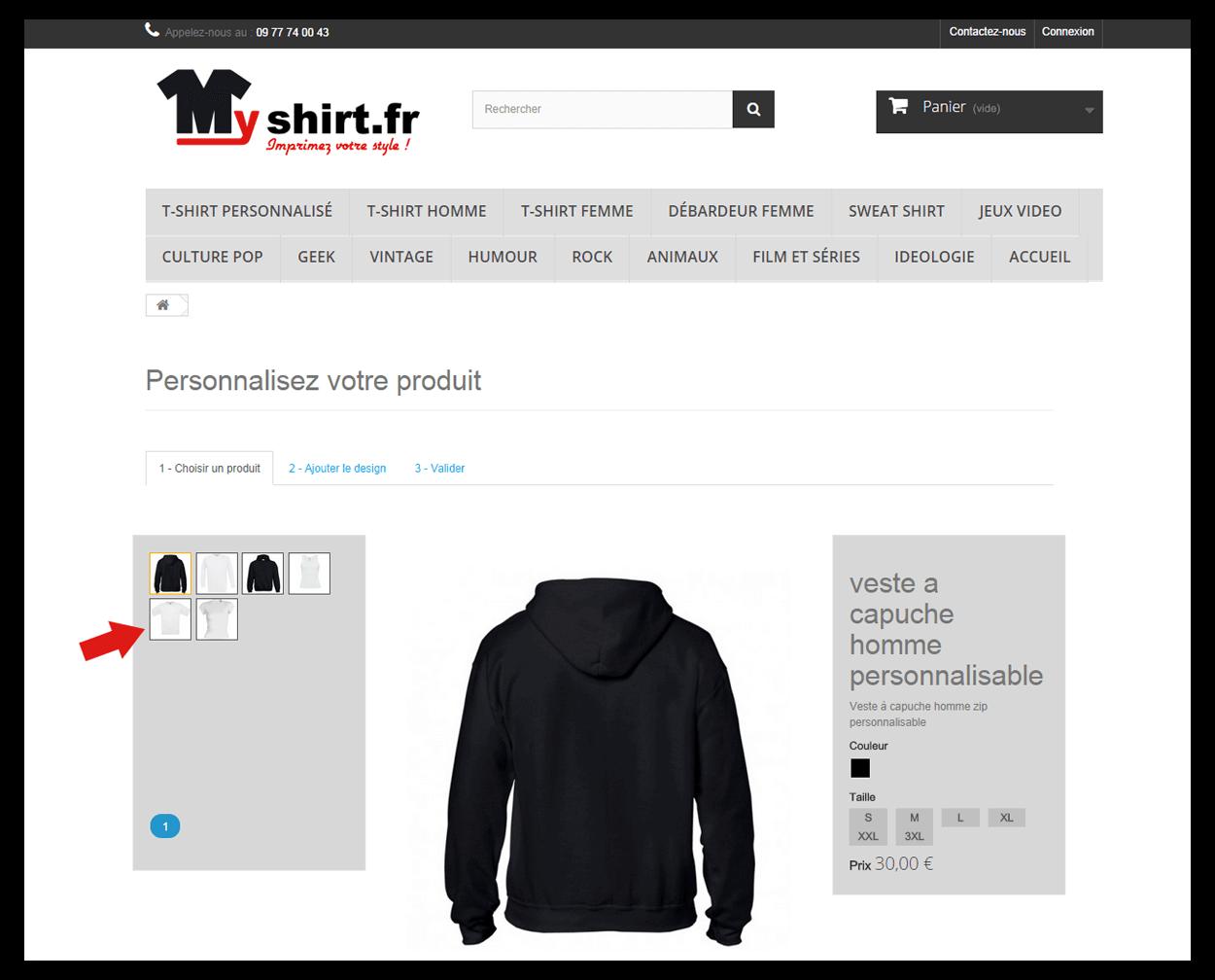 Personnalisez votre t-shirt, sweat, débardeur, avec myshirt.fr