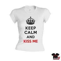 t shirt keep calm femme kiss me