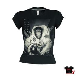 T shirt femme singe astronaute