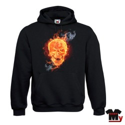 Sweat tête de mort flamme