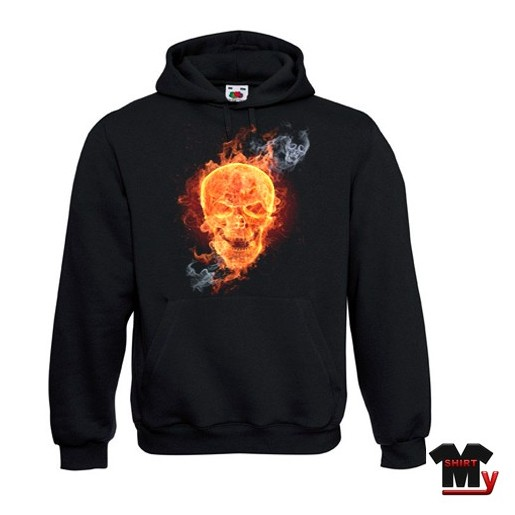 Sweat shirt tête de mort flamme