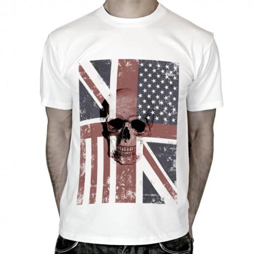 T-shirt Tete de mort Drapeau